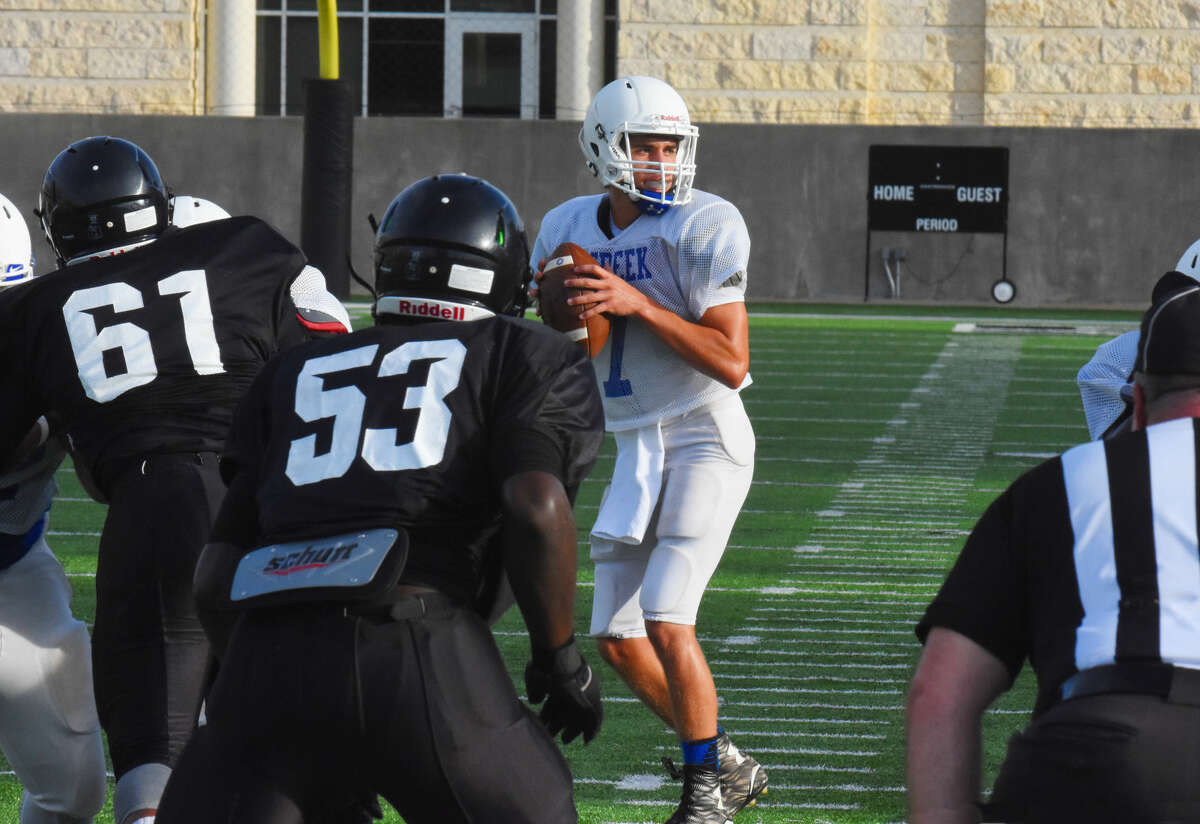 Cypress Creek junior starting quarterback Mateo Renteria drops back to pass Friday, Aug. 19, 2016 at Cy-Fair FCU Stadium in the scrimmage against Westside. Renteria has a tough job, replacing Luke Allen, but he has demonstrated at every opportunity that he is up to the task.