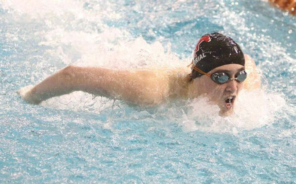 Memorial freshman Cooper Wozencraft competes in the Class 5A boys 100-yard butterfly finals at the UIL Swimming and Diving State Championships in Austin Saturday. Wozencraft came in fifth in the state in the 100 backstroke.