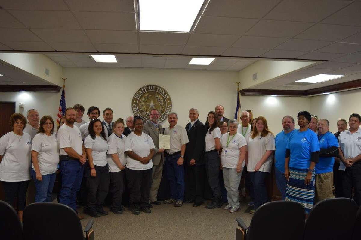 Homeland Preparedness Project provided over 1,200 volunteer hours during the Brazos River Flood 2016. These hours were spent primarily manning the shelters 24-hours a day for 47 days. These volunteers were recognized for their tireless effort and dedication to their neighbors in need during the Brazos River Flood of 2016. The Resolution was presented to Bill Ray, Homeland Preparedness Project, Founder and Executive Director. Presenting the Resolution was (L to R) Commissioner David Linder, Pct.4; Commissioner Stacy Adams, Pct.3; Brazoria County Judge Matt Sebesta; Bill Ray-Homeland Preparedness Project; Commissioner Dude Payne, Pct.1; Commissioner Ryan Cade, Pct.2.