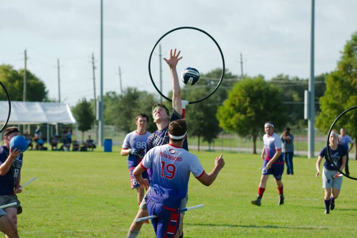 League City Legends' Sean Townsend (19) tosses the quaffle (ball) past the Cleveland keeper to score at the 2016 Major League Quidditch Championship in League City Saturday, Aug. 20.
