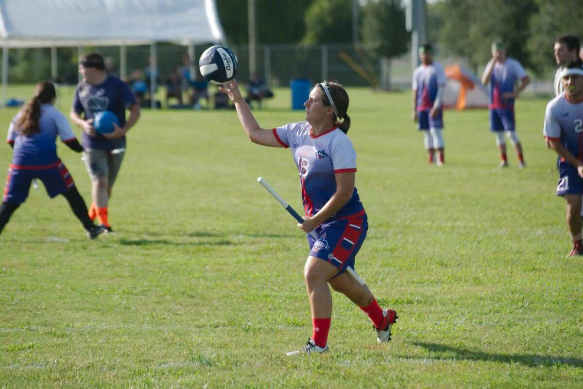 League City Legends' Sybil Hammonds (13) passes off to a teammate in a match against the Cleveland Riff at the 2016 Major League Quidditch Championship in League City Saturday, Aug. 20.