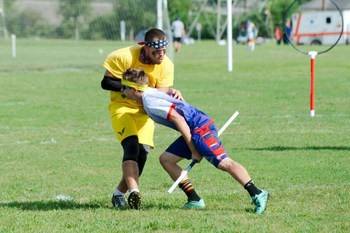 League City Legends' T.J. Goaley (3) tries to capture the snitch in a match against the Cleveland Riff at the 2016 Major League Quidditch Championship in League City Saturday, Aug. 20.