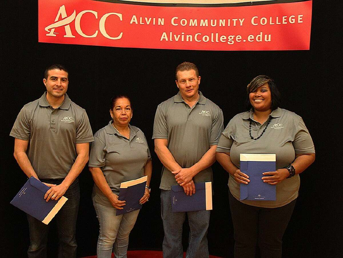 ACC employess who have worked at the college for 10 years are from left: Computer Support specialist Sam Villareal, housekeeper Irma Pina, Industrial Design Chair James Langley and Upward Bound advisor Sharmeal Archie. Not pictured are Computer Science instructor Cathy LeBouef and College Store sales associate Scott Powell.