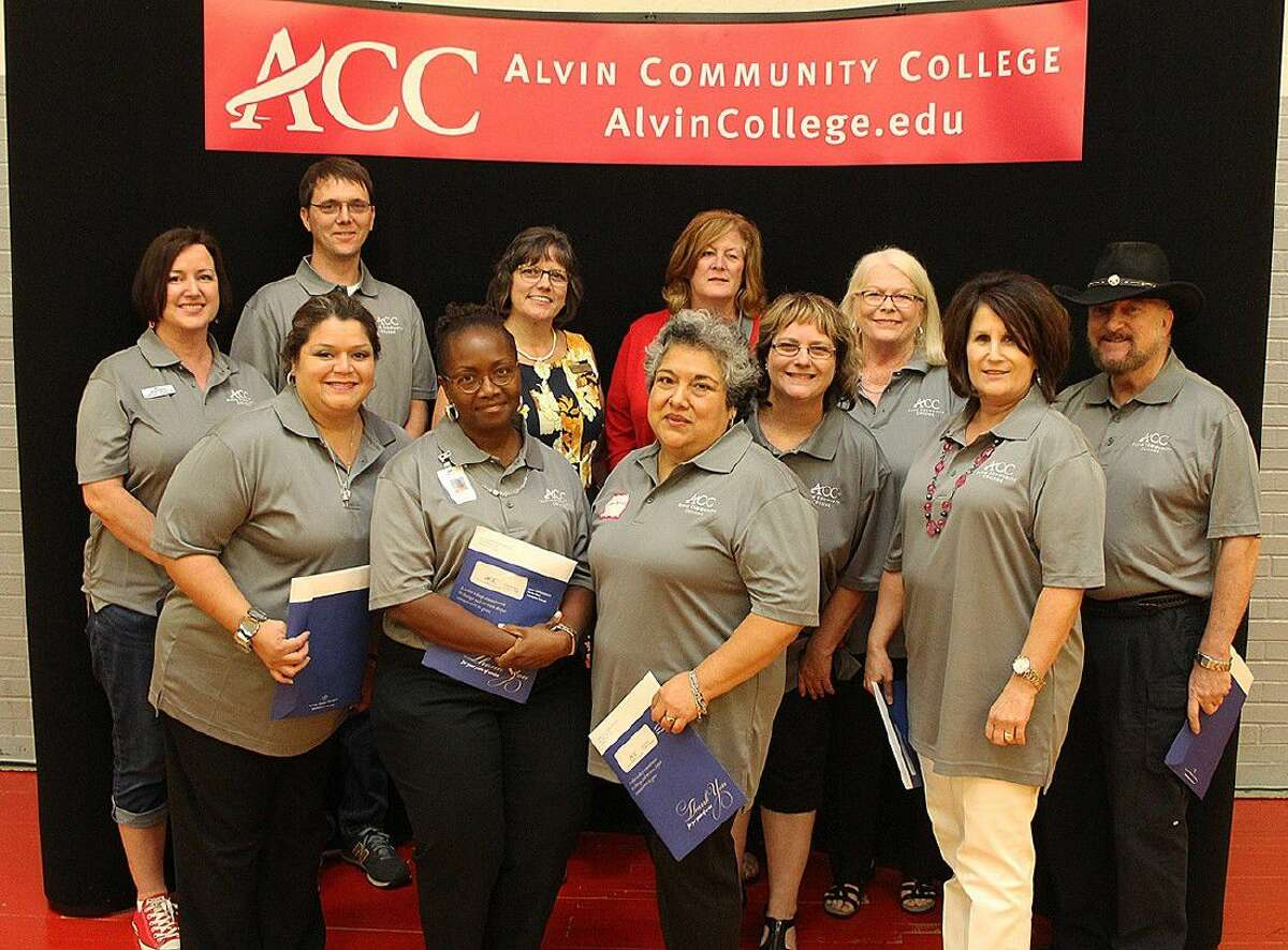 ACC employess who have worked at the college for 15 years are, front row, from left: Dual Credit advisor Monica Silvas, Webmaster Charzetta Fleming, Housekeeper Gloria Barrios, ACCESS coordinator Rhonda Myers, Continuing Education/Workforce Development Marketing specialist Stacy Chambless and Computer Science instructor Richard Melvin. Back row, from left: Respiratory Care instructor Marby McKinney, Math instructor Charles Kilgore, Associate Degree Nursing Director Dr. Debbi Fontenot, Continuing Education/Workforce Development Accounting technician Jamie Ward and GED Coordinator Suzanne Jerabeck. Not pictured is Building Services technician Manuel Moreno.