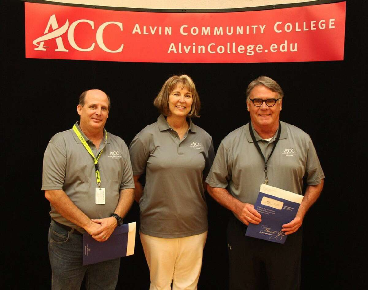 ACC employess who have worked at the college for 20 years are, from left: media specialist Kyle Marasckin, advisor Diana Stiles and Art department chair Dennis LaValley.