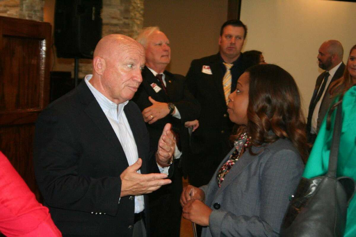 U.S. Representative Kevin Brady speaks with guests at the Lake Houston Area Chamber of Commerce luncheon Thursday, Aug. 18, 2016.