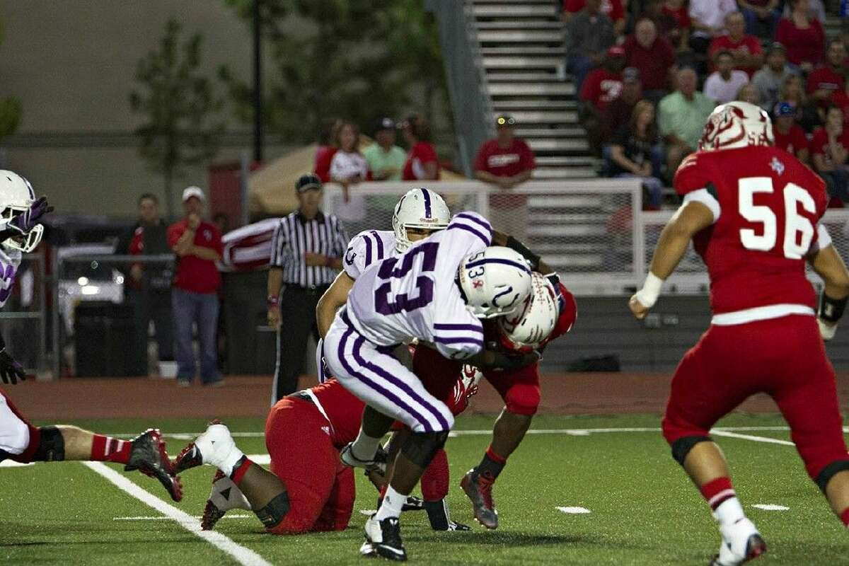 Dayton's Chris Brown makes a tackle in the Oct. 17 game at Crosby.