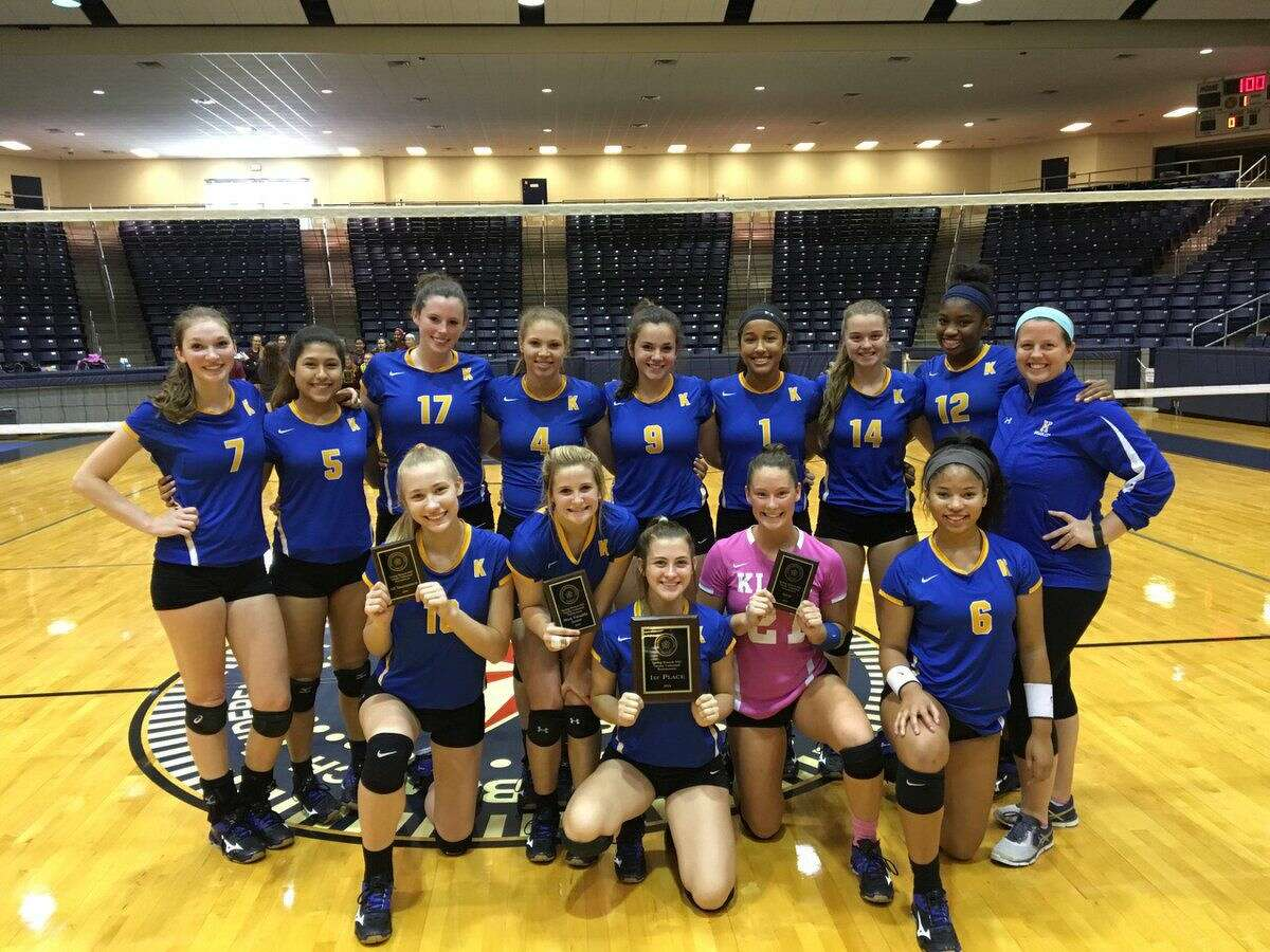 The Klein Lady Bearkats celebrate their championship-clinching win against George Ranch Saturday, Aug. 20, 2016. Klein has impressed in its two tournament bids this season, finishing fourth at the 48-team Nike Invitational and first at the 24-team Spring Branch Tournament.