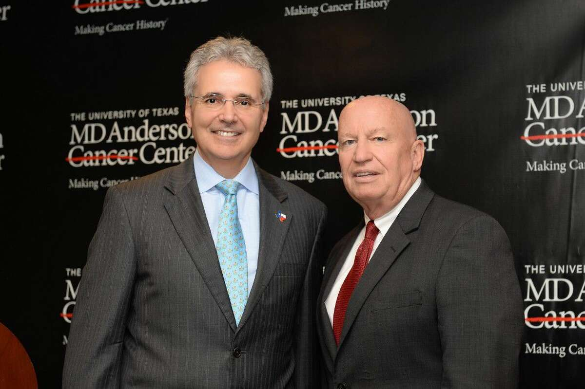 U.S. Rep. Kevin Brady, R-The Woodlands, Chairman of the House Ways and Means Committee, and Ronald DePinho, M.D., president of The University of Texas MD Anderson Cancer Center, discuss H.R. 5273, the Helping Hospitals Improve Patient Care Act of 2016.