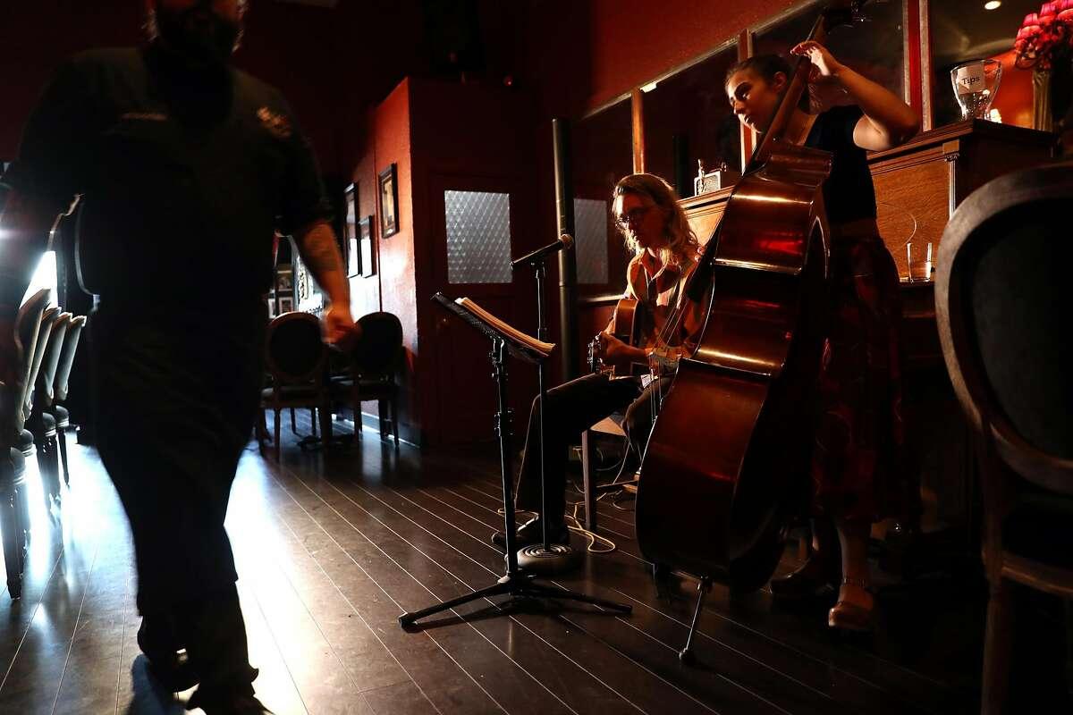 Kai Lyons and Isabel Dobrev play at Old Skool Cafe in San Francisco, Calif., on Thursday, October 6, 2016.