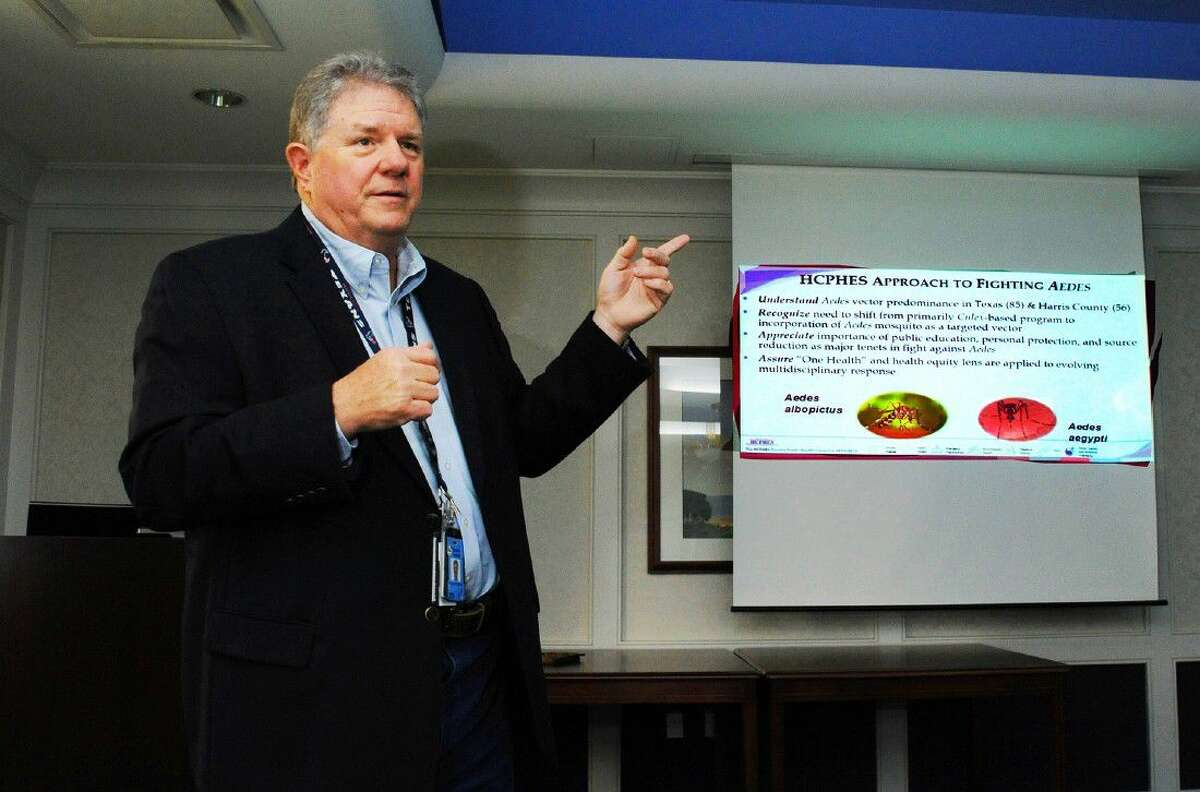 Mac McClendon, director of the Harris County Office of Public Health and Preparedness and Response, speaks at a luncheon on Thursday, Aug. 18, at Tomball Regional Medical Center.