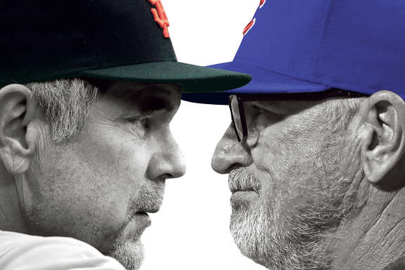 The Giants' Bruce Bochy (left) and the Cubs' Joe Maddon.