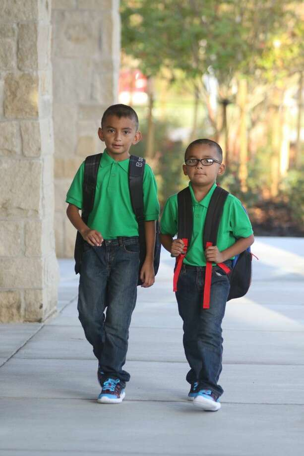 Students from Hasse Elementary are ready for the first day of school.