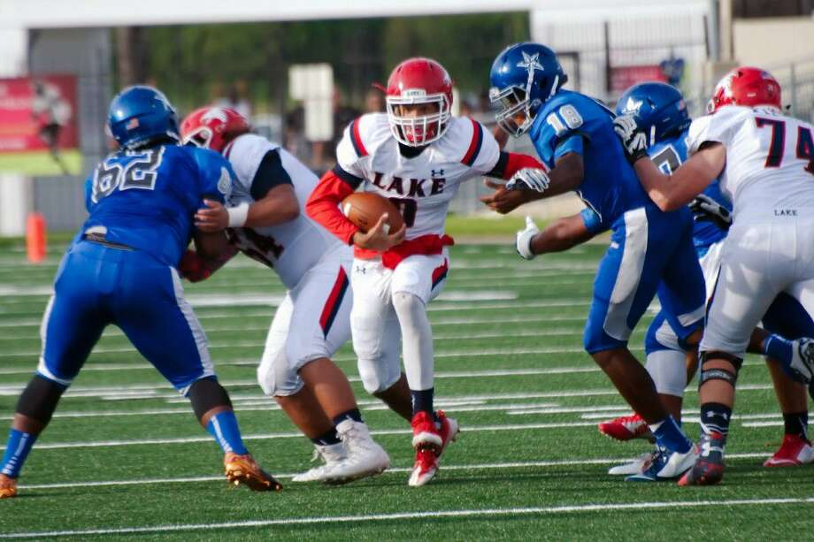 Clear Lake quarterback Shae Suiaunoa (8) hopes to find running room Friday against Alvin in a District 24-6A opener. Photo: Kirk Sides