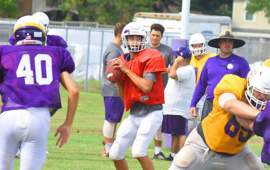 Jersey Village senior quarterback Alec Wechsler looks to throw from the pocket in practice Tuesday, Aug. 30 at Jersey Village High School. Fans can expect to see Wechsler operate from within the pocket considerably more than DeShun Qualls, who rushed for 1,175 yards. Photo: Tony Gaines