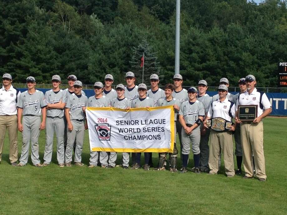 The West University Little League Seniors, also known as Team Southwest at last week's Senior Little League World Series in Bangor, Maine show off the banner the earned at the SLLWS by winning the championship Saturday afternoon with a 7-4 victory over the Latin American champions. The world championship was the West University Little League Seniors' second world title since 2009. The team was managed by Clint Sauls and Cape Bell and Parker Duffie were the assistant coaches.