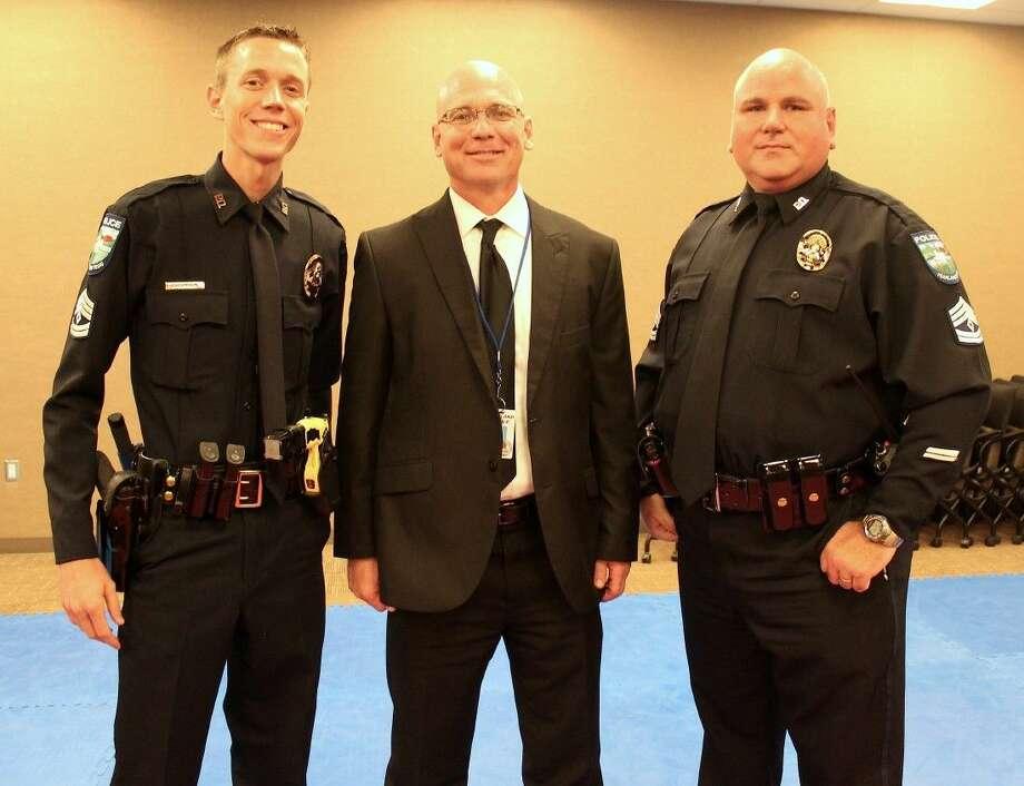 Sergeant Derek Dunham, Assistant Chief Johnny Spiers and Sergeant Carlton Eschete.