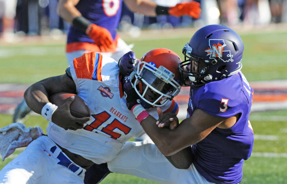 Seven Lakes graduate Adam Jones earned national weekly defensive honors after making two interceptions in Northwestern State's upset victory against Louisiana Tech. Photo: Gary Hardamon/NSU Photographic Services