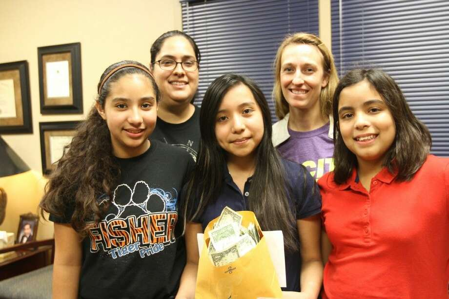 The Fisher Elementary student council collected over 1,000 to donate to Pasadena ISD families. Pictured: Fisher student council members Jessica Palma, Emily Escoto, Jayden Palacios and special education teachers Wadquidia Retta, and Emily Robol.
