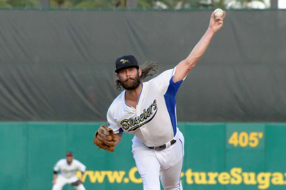 Second Baptist graduate Aaron Thompson of the Sugar Land Skeeters pitches against the Somerset Patriots at Constellation Field on August 6, 2016. Photo: Craig Moseley