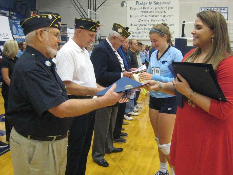 Various groups honored the veterans including the NJROTC who presented the colors and choir members who sang the National Anthem. A signed certification of appreciation was presented to the vets by the team members and coaches as well as a proclamation from the city of Houston and City Councilman Dave Martin thanking them for their service.