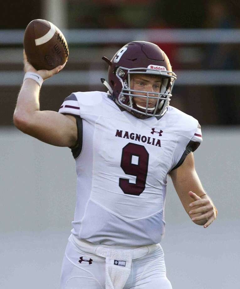 Magnolia quarterback Jacob Frazier (9) drops back to pass during the first quarter of a non-district high school football game last Thursday.