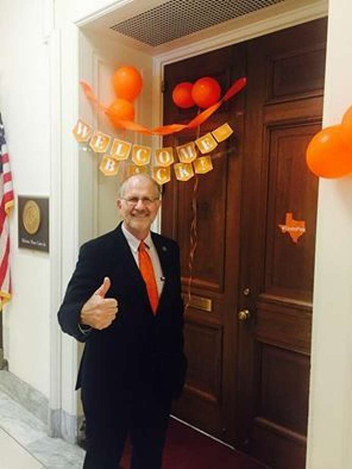 "U.S. Representative Ted Poe, R-Texas, was greeted at the door of his office in Washington D.C. with orange balloons, orange streamers and an orange ""Welcome Back"" banner which was apropos since the color for leukemia awareness is orange."