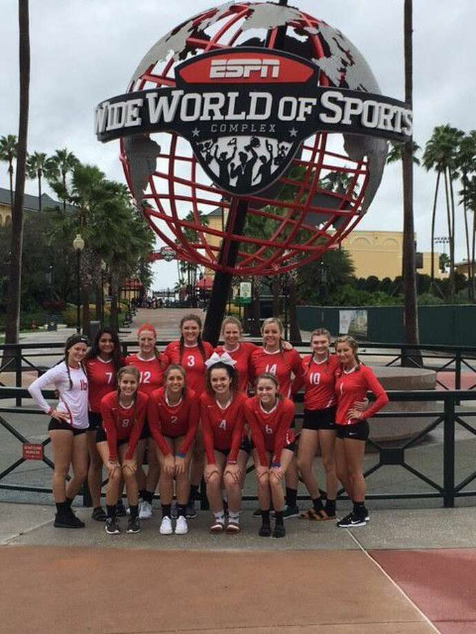 The Splendora Ladycats volleyball team poses at ESPN Wide World of Sports complex in Orlando, Fla. during their recent trip to for a tournament and team bonding at Disney World.