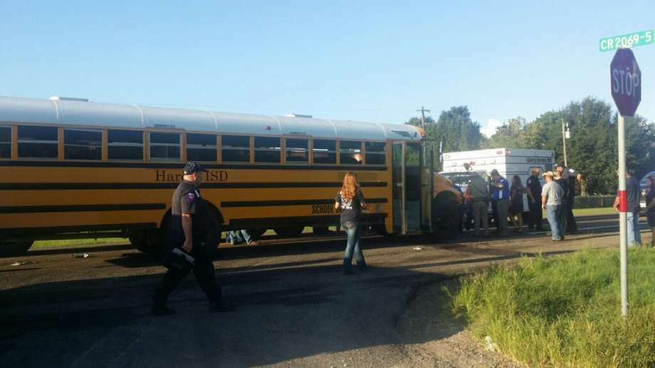 No students were seriously injured when a van crashed into the back of a school bus on Friday morning off Highway 105 in Liberty County.  Photo: Vanesa Brashier