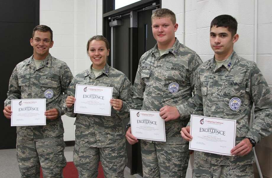 Coldspring-Oakhurst High School Air Force JROTC cadets were honored at the regular COCISD Board of Trustees meeting on Monday, Aug. 29. Pictured from left to right are Cadet Lieutenant Colonel Brandon Kelly, Cadet Major Sara Coe, Cadet Captain Robert Horton and Cadet Major Timothy Snook. Photo: Submitted