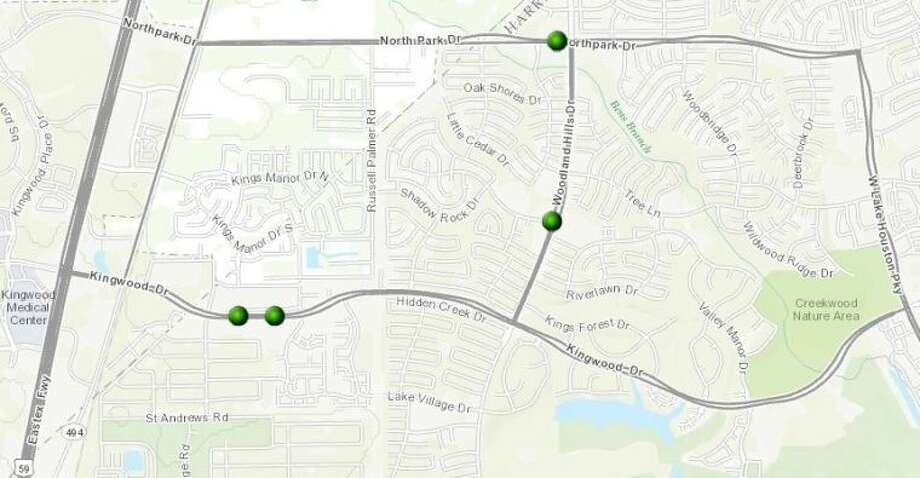 Robberies in Kingwood as reported by HPD for the period of Jan. 31-Feb. 6. Photo: Map By City Of Houston GISTD