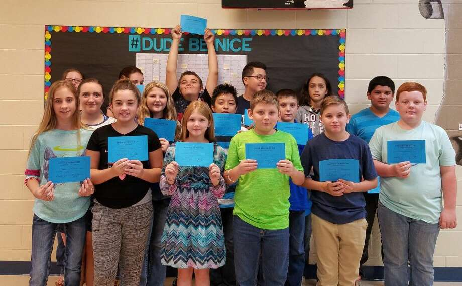 The Students of the Month for Shepherd Middle School in September are (back row, left to right) Elizabeth Meilike, Haley Mays, Jesse Monteaux, Adrian Almazan, Aris Ramos, Juan Pena; (middle row) Katelynn Pollard, Kristi Hinze, Obie Galicia, Tyler Foxworth; (front row) Montana McMaster, Katelyn Pippin, Hope Counsellor, Gauge Elrod, Walker Windt and Drew Hodge. Not pictured is Bethany Hassler. Photo: Submitted