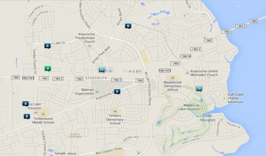 Law enforcement activity in the Atascocita area Jan. 3-9. Legend: R - robbery; V - stolen vehicle; TV - theft from vehicle (BMV); B - burglary. Photo: Map By Crimereports.com