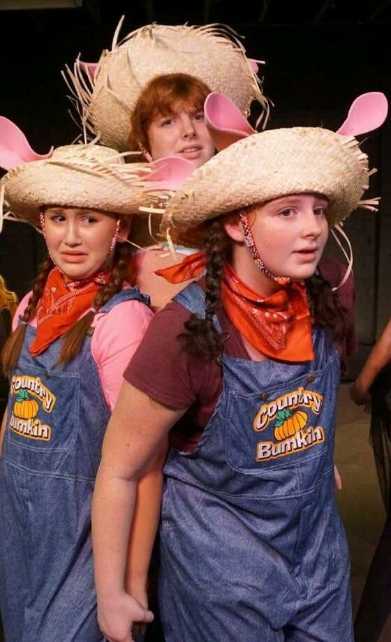 """Frightened Little Piggies, from left, Avery Jeffries, Emma Walden and Molly Walden, fear the Big, Bad Wolf is approaching in Fort Bend Theatre's production of the musical, """"The Big Bad Musical, A Howling Courtroom Comedy,""""at 3 p.m. Saturdays and Sunday through Oct. 2. Visit www.FortBendTheatre.com for details. Photo: Fort Bend Theatre"""