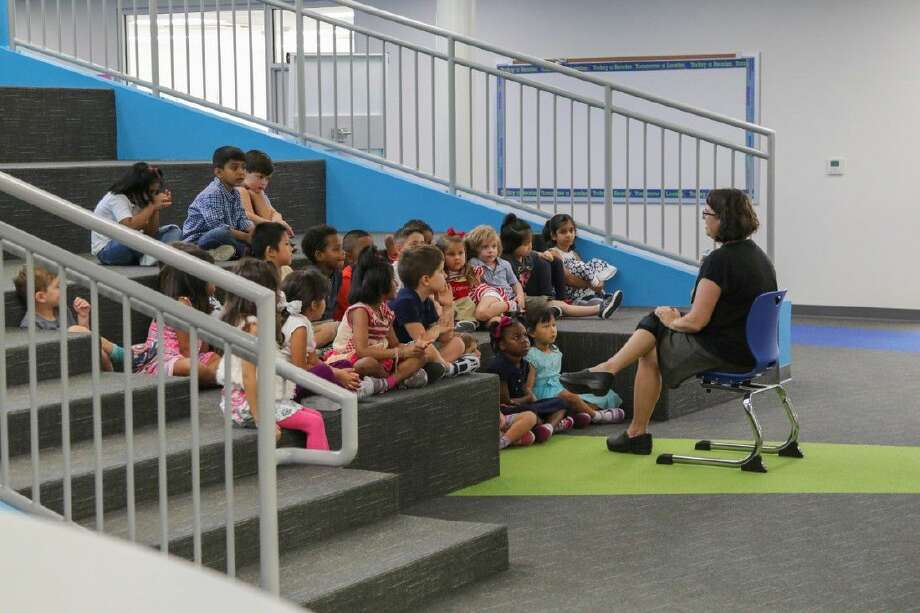 Pupils use the learning stair in Houston Independent School District's Condit Replacement Elementary in Bellaire.