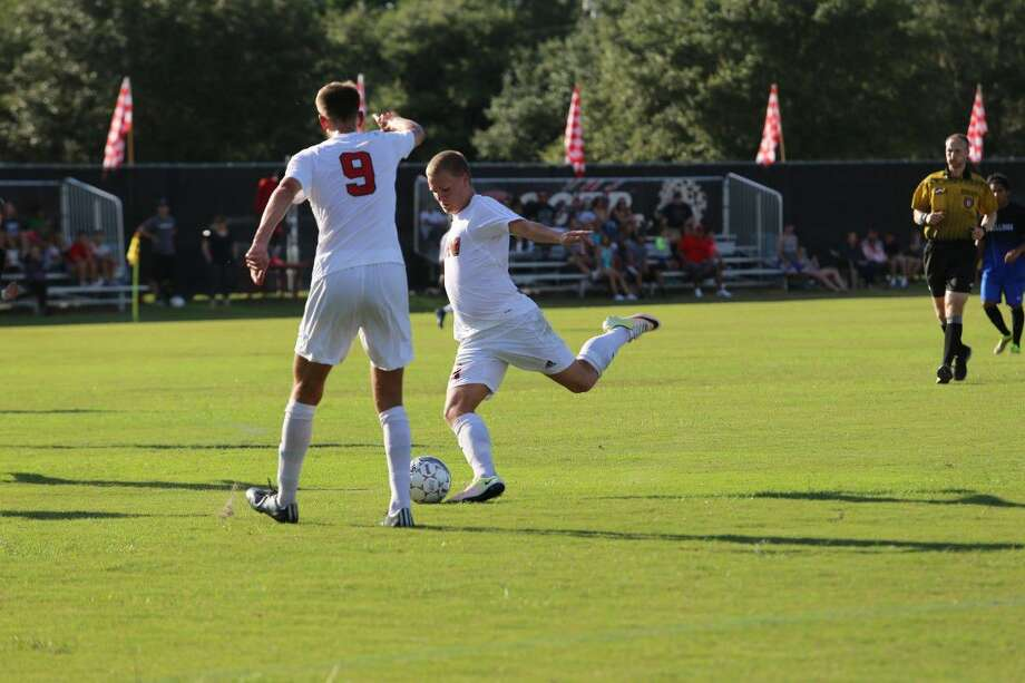 Cinco Ranch graduate Espen Hansen recorded two goals in the first 15 minutes to help UH-Victoria defeat Jarvis Christian 6-0. Photo: UHV Athletics Media Relations