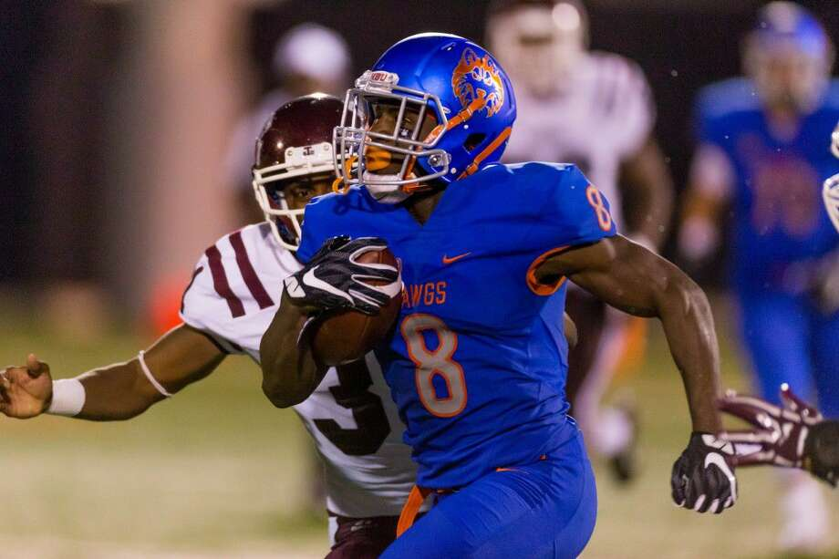 Stratford graduate Terrance Peters rushed for a school-record 155 yards, including a 51-yard, go-ahead touchdown in the fourth quarter as Houston Baptist defeated Texas Southern 24-20. Photo: HBU Athletics Media Relations