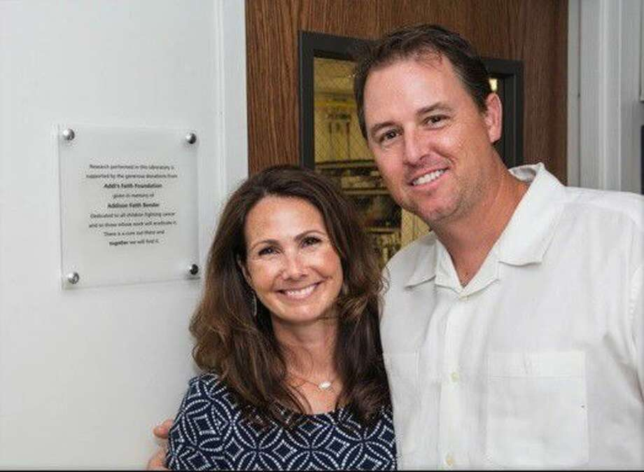 Amber and Tony Bender, co-founders of Addi's Faith Foundation, gathered with friends, family, and supporters at the M.D. Anderson Cancer Center Smith Research Building to dedicate the pediatric neuro-oncology lab to their daughter, Addison Faith Bender.