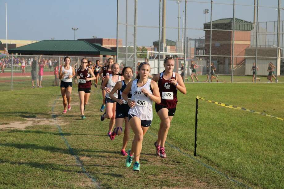Mustang Junior Caroline Wheat leads the JV pack and earns a new PR for herself. Photo: Submitted