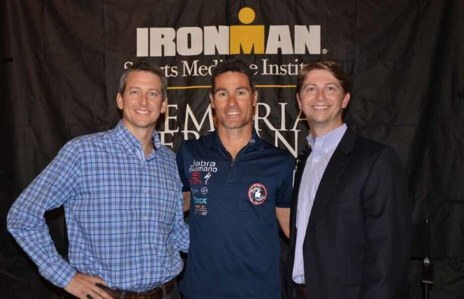 South Coast Endurance swimming and triathlon coach TJ Fry (right), with Craig Alexander (middle) and Memorial Hermann The Woodlands Hospital COO Justin Kendrick at a talk Alexander gave hosted by Memorial Hermann IRONMAN Sports Medicine Institute and South Coast Endurance.