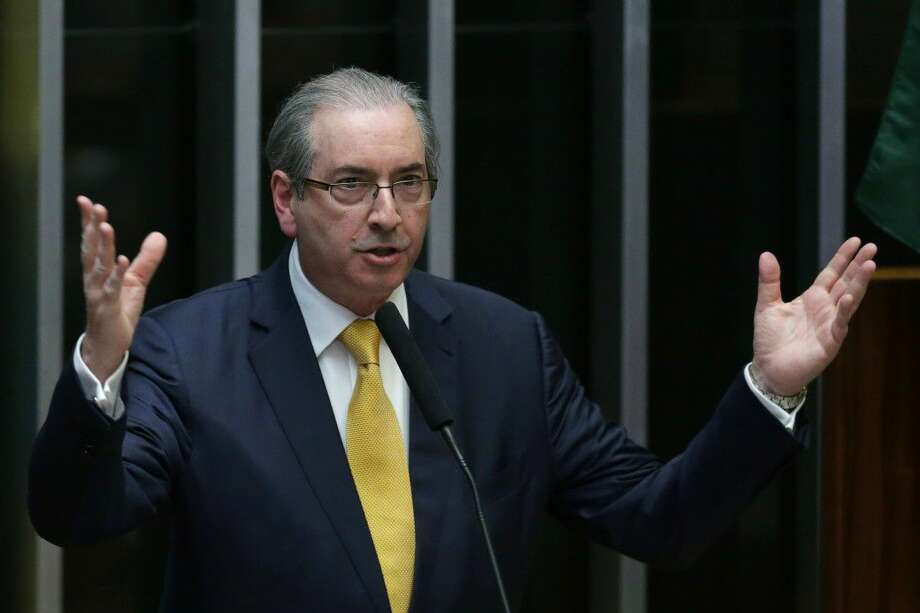 Brazil's former President of the Chamber of Deputies Eduardo Cunha speaks during the presentation of his defense in the Chamber of Deputies, in Brasilia, Brazil, Monday.