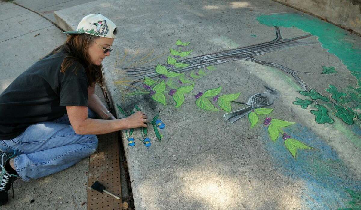 """Professional artist Michael-Ann Belin, of Spring, works on her chalk art visual interpretation of """"Flora & Fauna of the Cypress Creek Environment"""" during the CreekFest Art & Soles Festival of Arts organized by the Houston Northwest Chamber of Commerce."""