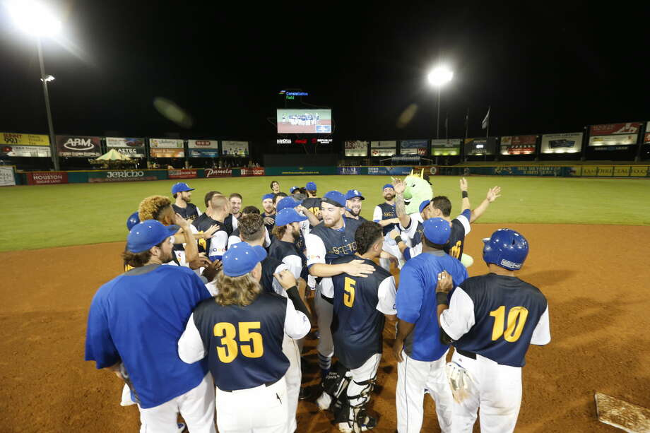 The Sugar Land Skeeters celebrate a 6-5, ninth-inning victory against Southern Maryland, Sept. 16 at Constellation Field. The win gave the Skeeters the second-half Freedom Division title and playoff spot. Photo: Sugar Land Skeeters