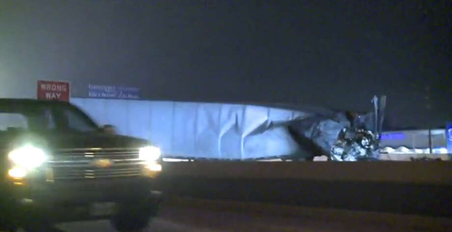 Portions of Interstate 45 were shut down after a fiery big rig crash about 2:30 a.m. Friday, Oct. 7, 2016, in the Conroe area. The road reopened hours later. (Metro Video)