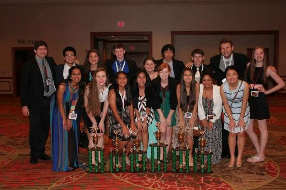 Cypress Falls Key Club members pose with all their trophies won at District Convention in Dallas. Photo: Submitted Photo