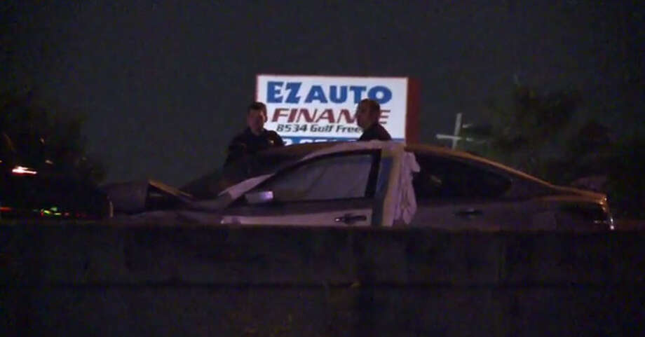 A man died about 11:50 p.m. Thursday, Oct. 6, 2016, when he slammed into a disabled car along the inbound Gulf Freeway near Monroe in southeast Houston. (Metro Video)