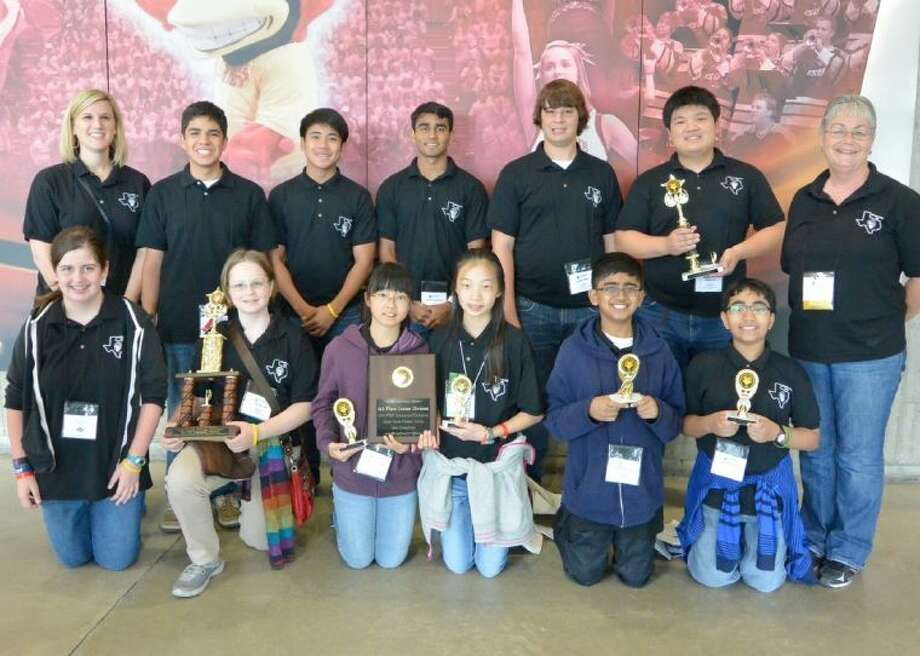 Pictured are (front, from left) Maddie Little, Jessica Williams, Stephanie Lam, Karen Lu, Chinmay Walavalkar and Siddharth Krishnakumar and (back, from left) Coach Beth Moore, Aaron Macias, Jason Quimio, Sachin Aggarwal, Michael Farner, Conrad Liu and Coach Judy Sisk.