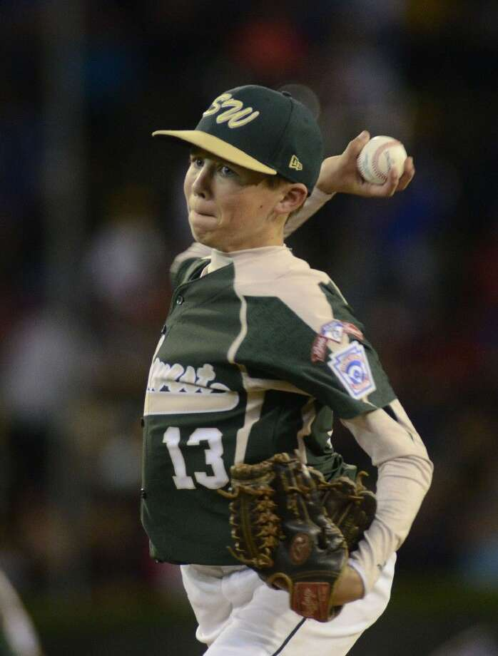 Matthew Adams (13) pitches for Southwest in their first game of the Little League World Series in Williamsport Friday night.
