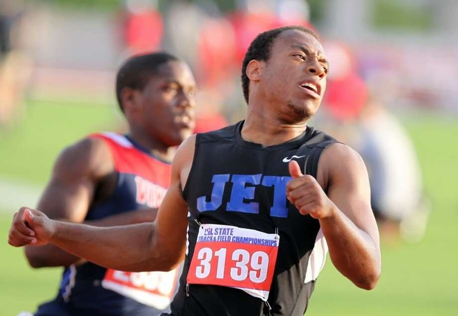 Katy Taylor's Malcolm White won the silver medal in the Boys 5A 100-Meter Dash on May 10 at the UIL State Track & Field Championships at Mike Myers Stadium in Austin. Visit HCNPics.com for more photos. Photo: Alan Warren / HCN