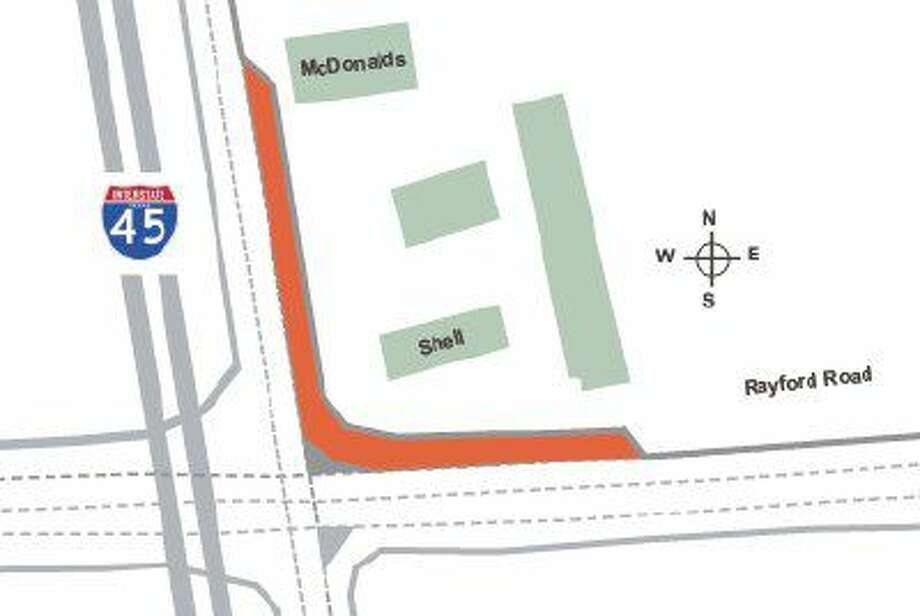Precinct 3 will begin construction at the intersection of Rayford Road and Interstate 45 to enhance the northbound feeder (area in red).